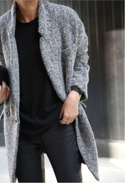 Herringbone coat, black sweater + leather trousers | @styleminimalism