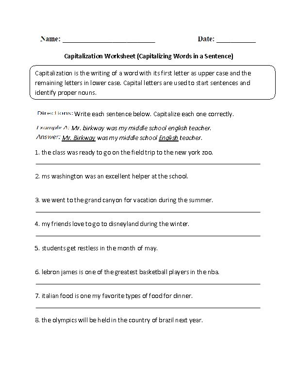 capitalizing words in a sentence capitalization worksheet