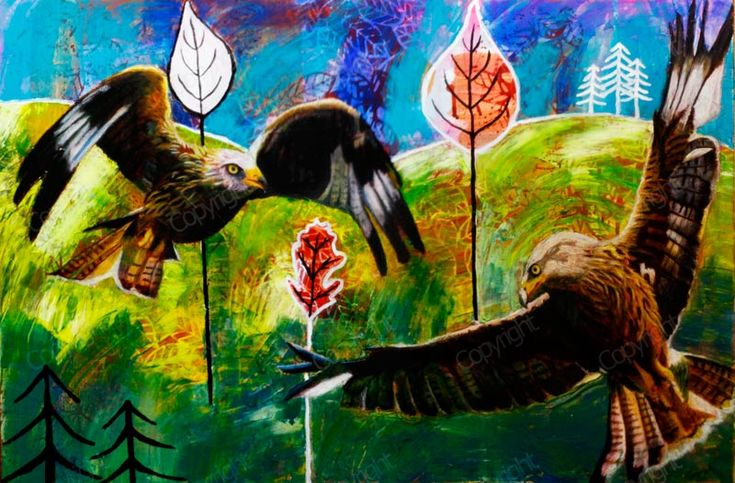 Red Kites Above Welsh Hills – 24Steps Art and Design  #redkites #wales