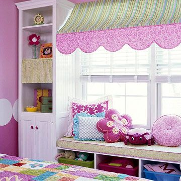 So cute.  It would be easy to add a window seat to any room by building it between bookcases.