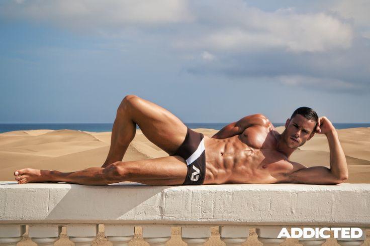 Sunga cut swimwear from Addicted. Photo from 2013 Maspalomas shoot. http://www.kaybodywear.com/catalogsearch/result/?q=sunga