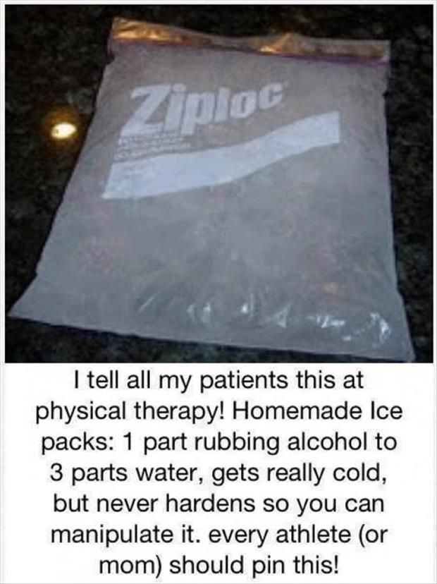 1 part of rubbing alcohol and 3 parts of water gets cold but never hardens.