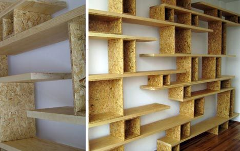 Stacked shelving great for an open wall for books or dvd for Unusual shelving ideas
