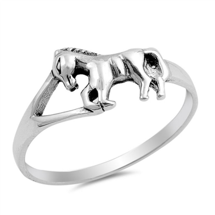 Horse Ring Solid 925 Sterling Silver Three Horses Ring Spiritual Gift Split Shank Oxidized Horse Ring Horse Lovers Horse Jewelry