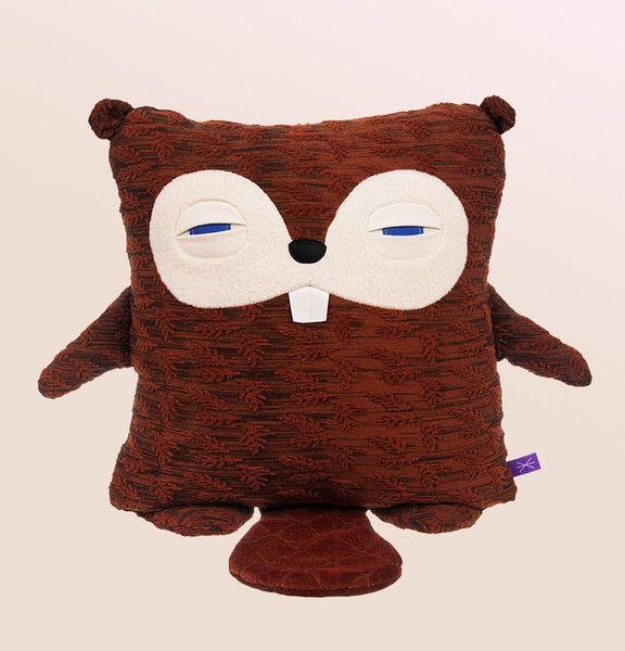 Velvet Moustache sleepy Squirrel pillow