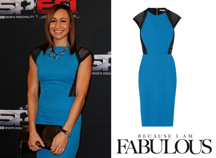 Shop Celebrity Closet: Jessica Ennis-Hill Victoria Beckham Mesh-trimmed Silk & Wool-blend Dress - http://www.becauseiamfabulous.com/2013/12/jessica-ennis-hill-victoria-beckham-mesh-trimmed-silk-wool-blend-dress/