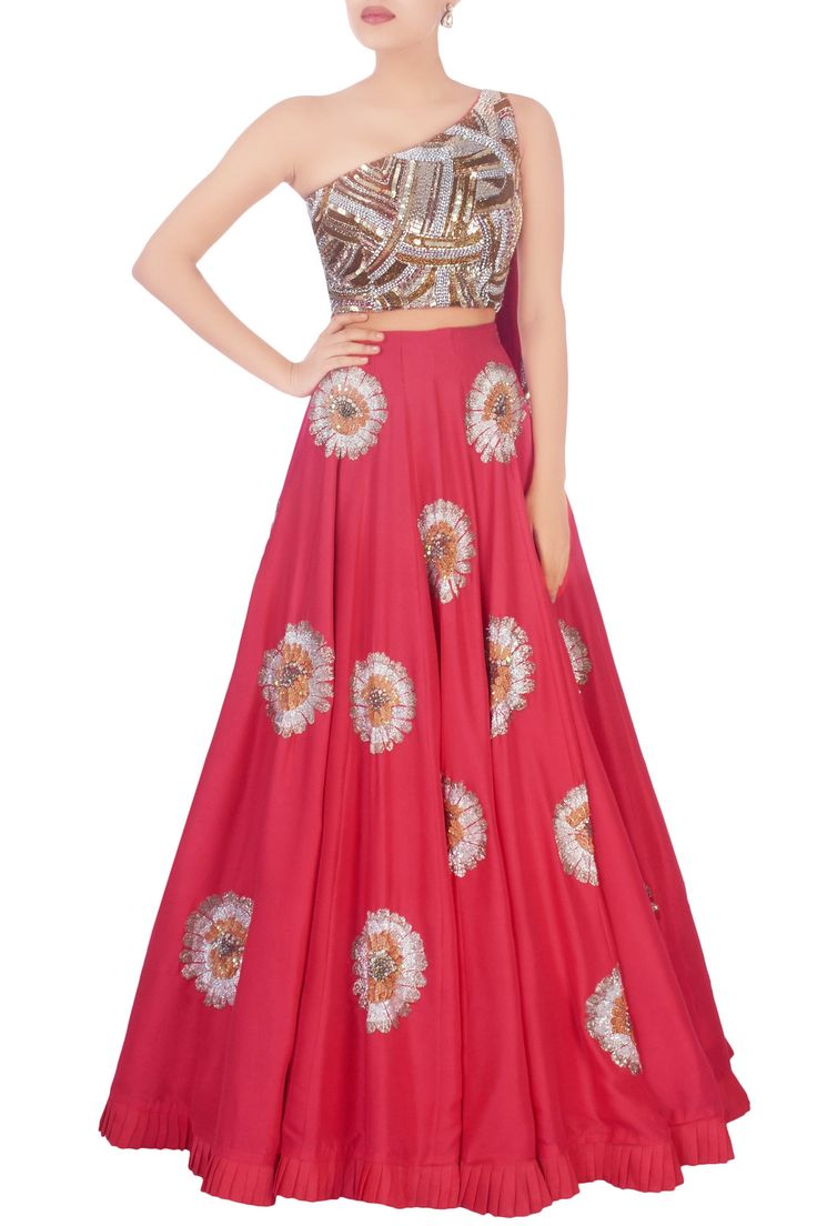 Shop Manish Malhotra - Red sequin embellished lehenga Latest Collection Available at Aza Fashions