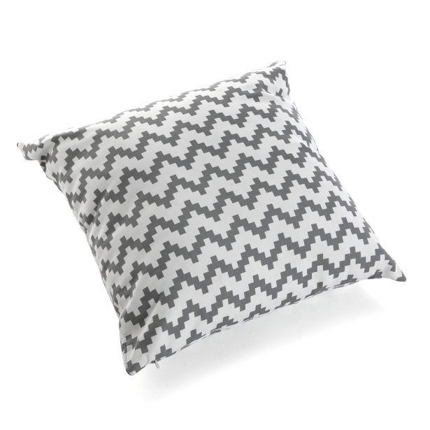 Coussin carré épais en coton blanc gris motif zigzag