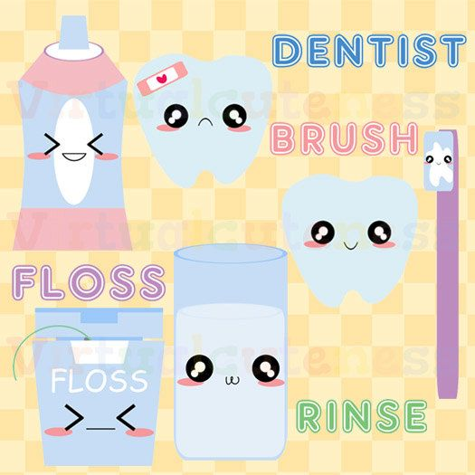 Dental Clipart - Dentist, Toothbrush, Teeth, Cavity, Scrapbooking, Weekly Planner, Cute Clipart, Kawaii, Free Commercial and Personal Use