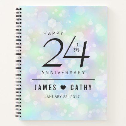 Elegant 24th Opal Wedding Anniversary Celebration Notebook - confetti wedding marriage party gift idea diy