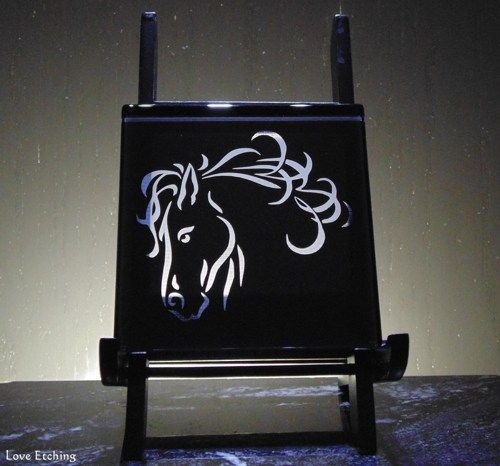 1 HORSE Head Etched Glass Black Wall Tile, Sign, Coaster, Glass Art
