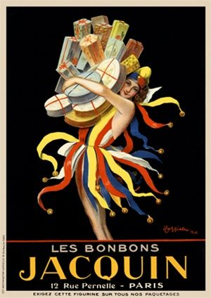Cappiello Jacquin 1926 France - Beautiful Vintage Posters Reproductions.  This vertical French poster features a woman in a colorful jester ...