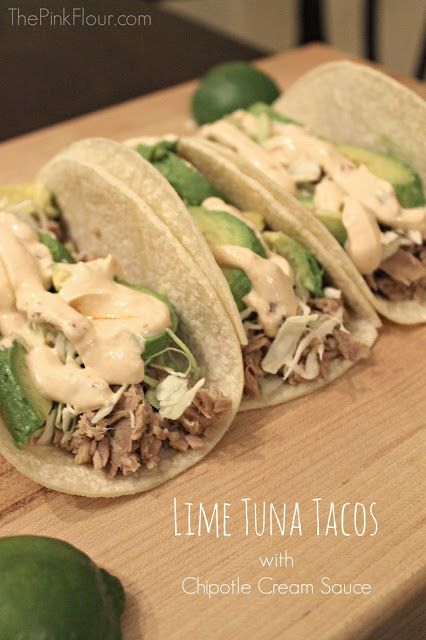 Lime Tuna Tacos with Chipotle Cream Sauce - a healthy, fresh and easy weeknight dinner from www.thepinkflour.com #tuna #dinner #OceanNatural...