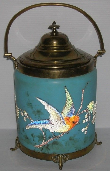 VICTORIAN BLUE ART GLASS BISCUIT BARREL :