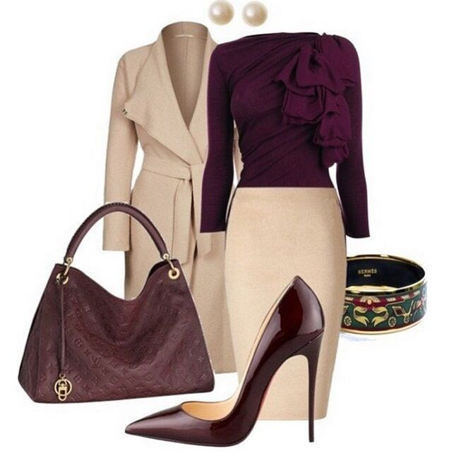 """Guess what?  I already have burgundy heels!  How cool is that?  Now I just need the rest of the outfit.  I think the skirt might be too long on me - I can do pencil skirts but not """"midi"""" skirts."""
