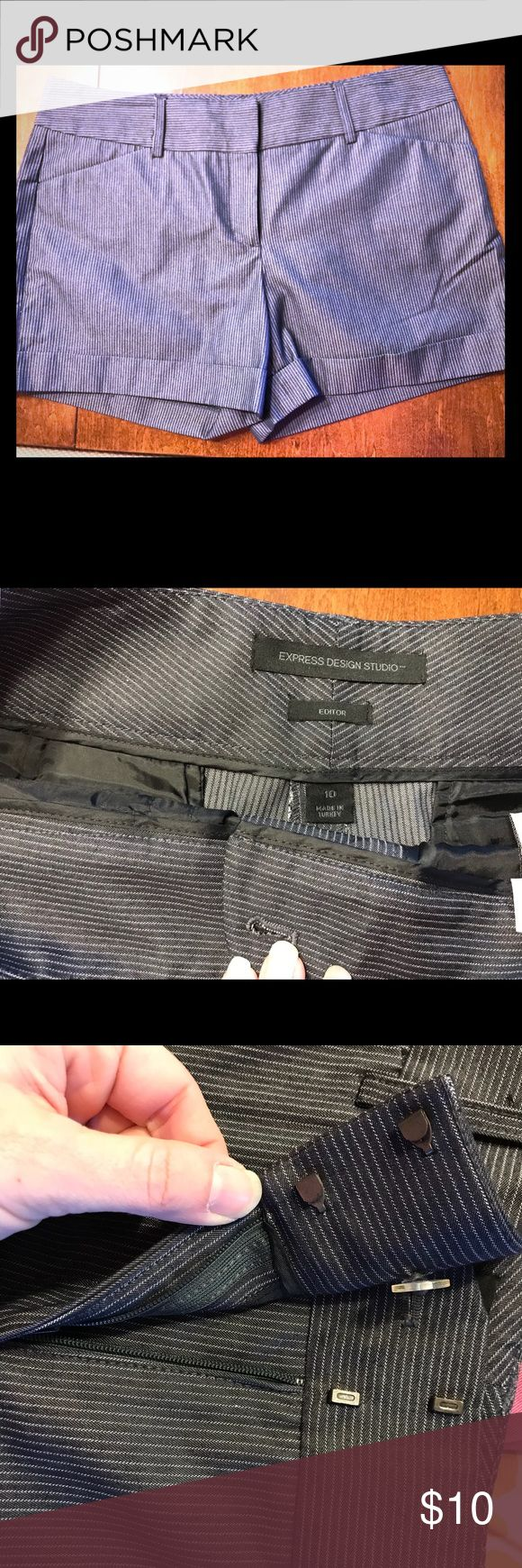Pinstripe shorts Navy cuffed chino with silver pinstripes. Flat front pockets sit nicely and are functional. Back pockets are both functional and have button details for closure. Front closure is zipper and hook/eye. Worn once with a white blouse and wedges for an event. Express Shorts