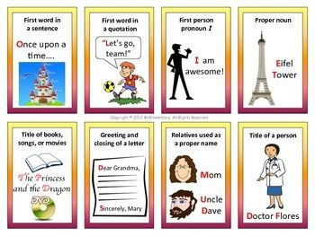 Capitalization Rules Trading Cards and Bulletin Board - This is a set of 20 capitalization rules cards that you can use with your students when teaching grammar, ELD, writing, or even reading. I've also included an enlarged set of the cards that you can post in your classroom as a writing or grammar bulletin board.