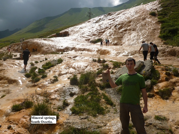 Mineral Springs in South Ossetia. This country is about as wide as the space from London, Ontario to Toronto. Gift of Art bag has traveled to some pretty unusual places, but the mineral springs running down the side of this mountain is near the top of the list.