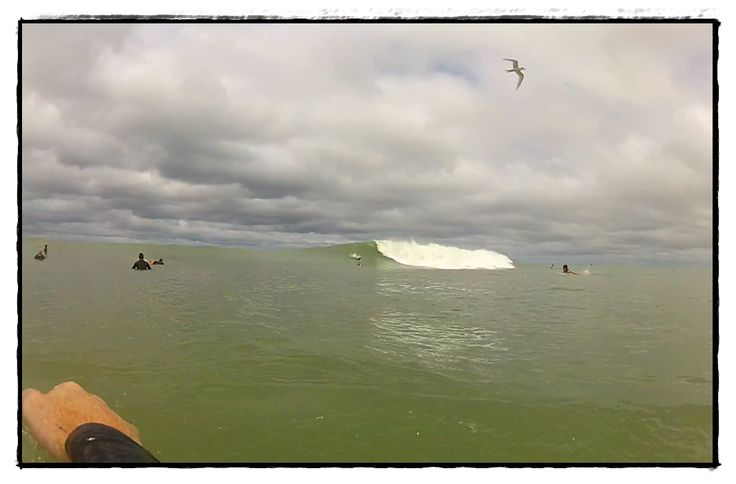 Maori Bay surfing. Paddling out back with a GoPro camera. Hayden Brown