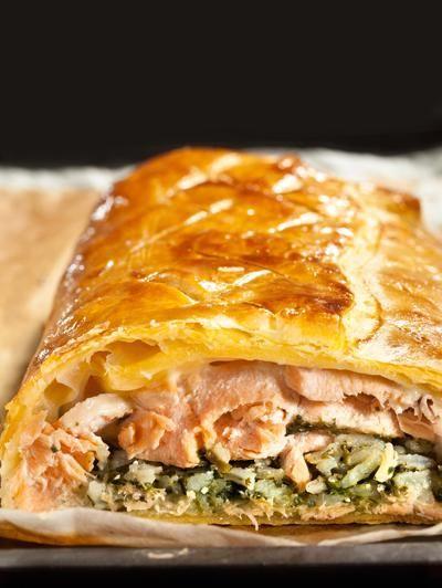 Recette - Koulibiac de saumon et épinards au Comté - Notée 4.1/5 par les internautes
