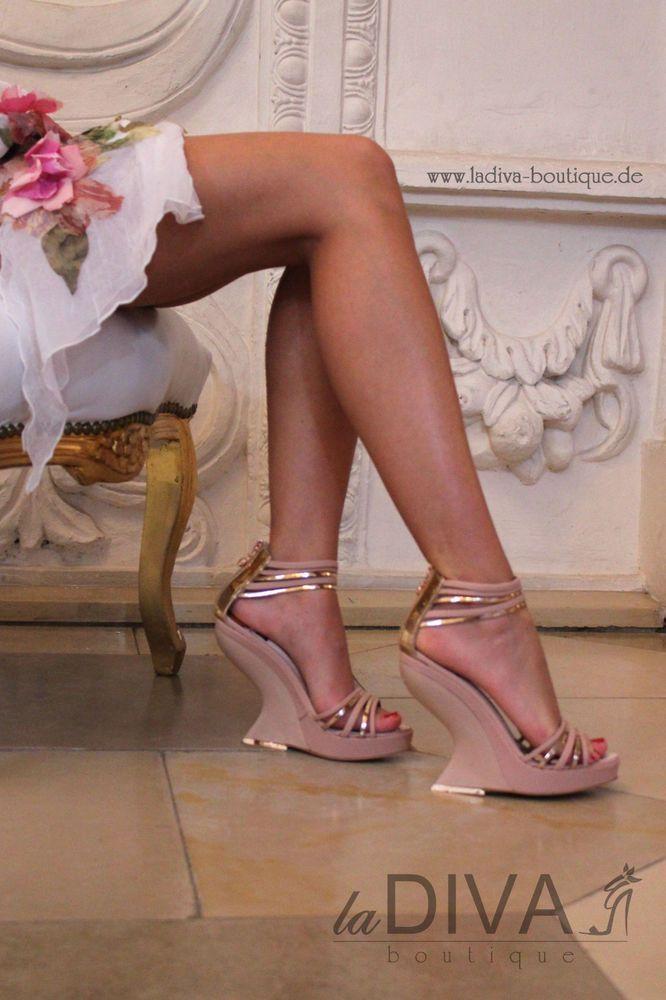 ALBERTO VENTURINI - Italy 38 Lack Leder Sandalette gold rose Keil Absatz Wedge