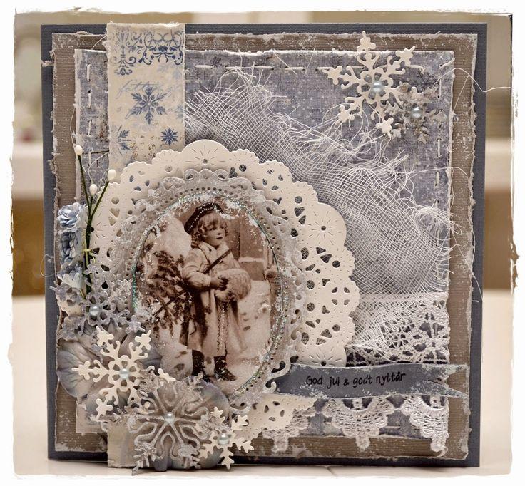 Gro's kort og sånnt: Julekort i blått