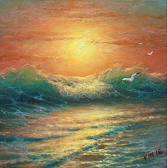 Noche Surf 6 x 6 pintura al óleo originales por vladimirmesheryakov