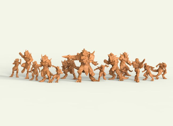 Lizardmen team from Star Player. 3D Miniature team of lizardmen to board game Fantasy Fotball. A total of 18 figures, 35 mm scale, were designed and modelled combining Fantasy Football with Maya and Aztec aesthetics.