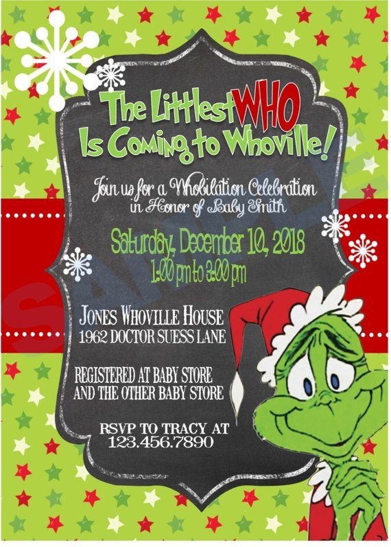 Grinch Christmas Baby Shower Invitation In 2019