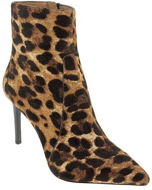 Pair leopard booties with a lace-up sweater and a camel coat.