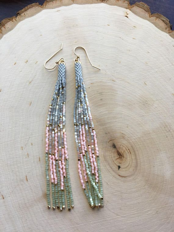 Hand painted Pearl chain fringe earrings On Sale