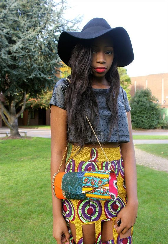 Clutch bag with gold chain. This bag is made from cotton African print fabric.
