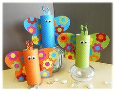 Butterfly recycled toilet paper roll craft. Could be used to hold pencils, crayons, etc.