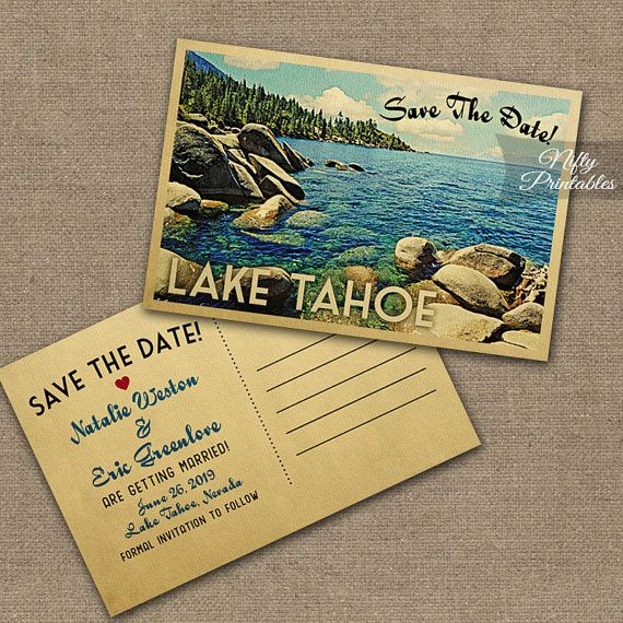 This DIY vintage travel Save The Date postcard features beautiful Lake Tahoe in fun mid-century retro style.    The matching Wedding Invitation