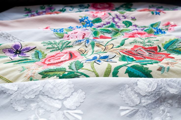 Hand embroidery on the scarfs from Łowicz