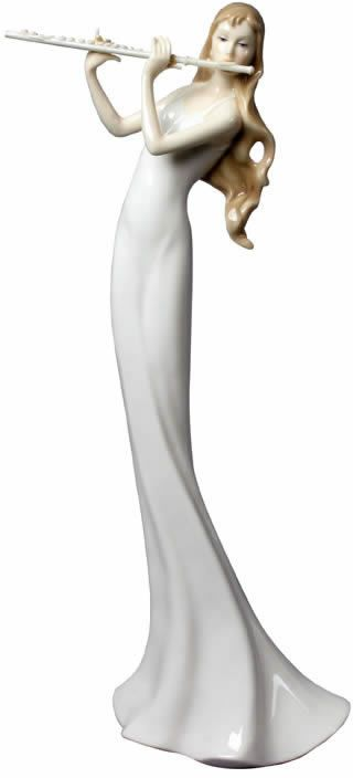 Girl With Flute Figurine Sculpture Statue Home D Cor Decorations Music Related Gifts