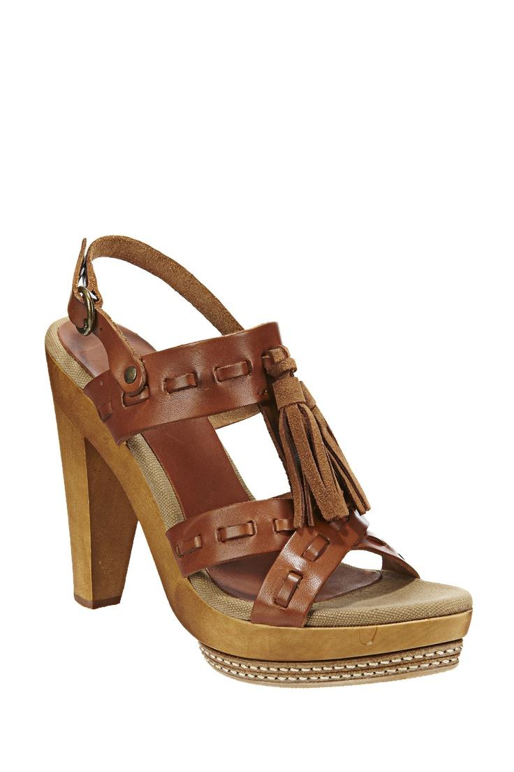 Sandales à talon en cuir Yolanda Choco/ Camel Pepe Jeans sur MonShowroom.com