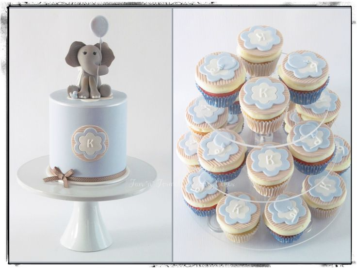 Elephant Baby Shower cake with cupcakes.