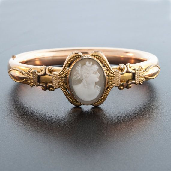 Antique Victorian Rolled Gold Bangle Bracelet with Carved Shell Cameo