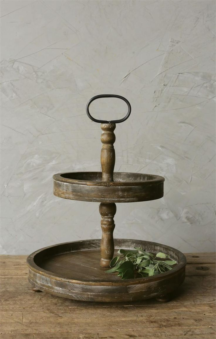 Two-Tiered Rustic Wood Tray, Tiered Cake Stand