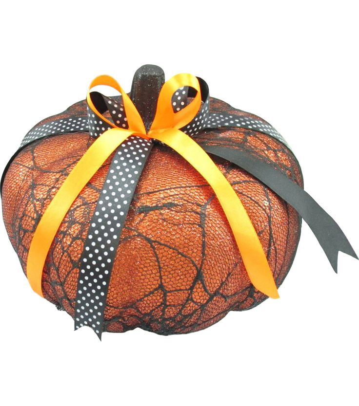 Pumpkin Decor Halloween Home Decor Boutique Medium Decorative Pumpkin Spider Web Lace Orange