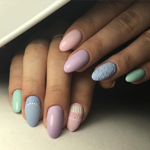 Cheerful nails, Colorful nails, Elegant nails, Fashion nails 2016, Light summer nails, Marine nails, Nail designs with pattern, Oval nails