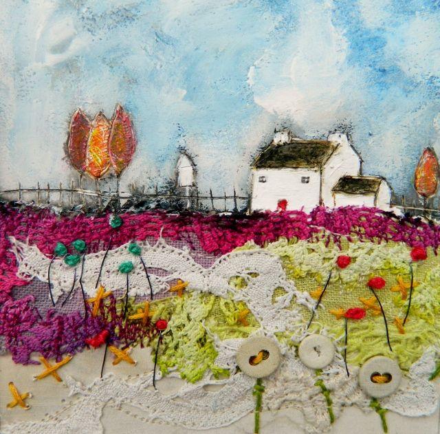 'Dovecote cottage'  by Louise O'Hara of DrawntoStitch www.drawntostitch.com