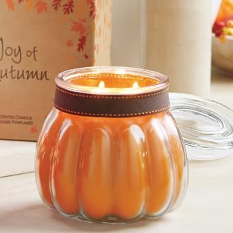 Pumpkin Apple Cider Large Pumpkin Jar - great fragrance for fall + cute Halloween jar candle!