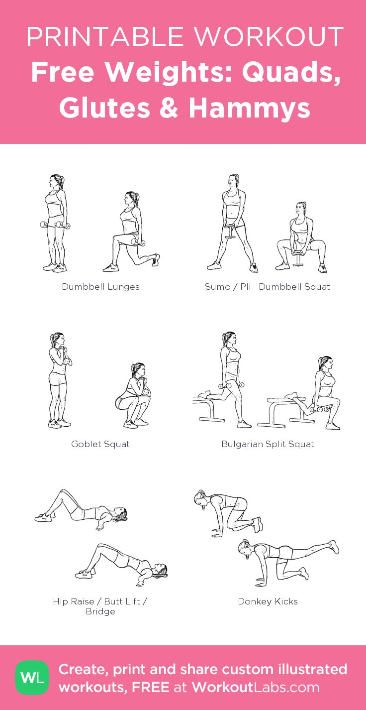 Free Weights: Quads, Glutes & Hammys: my visual workout created at WorkoutLabs…. – Workouts