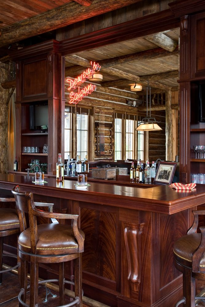 The Main Ranch Compound Consists Of A Lodge Main House And Fishing Cabin And A Barn Situated And Designed To Creat Home Bar Designs Western Saloon Bar Design