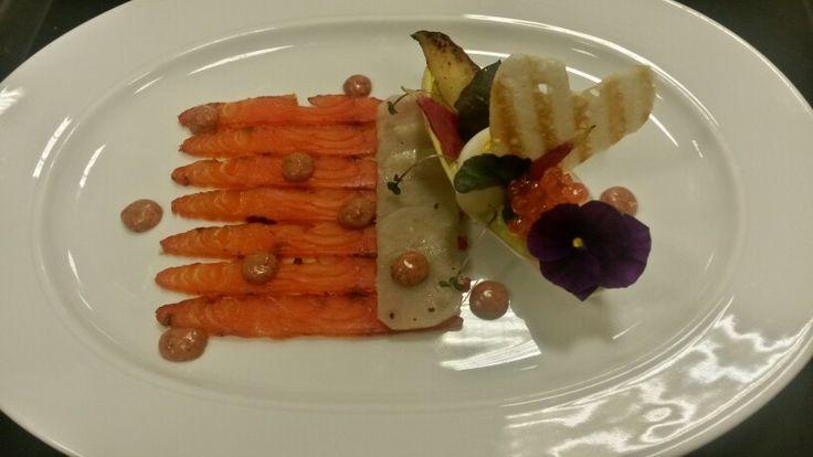 Valentines day  salmon carpacio and jerusalem artichoke