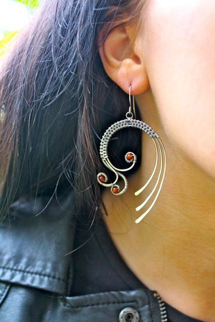 Mistral sterllng and fine silver earrings by Weaversfield on Etsy, £45.00