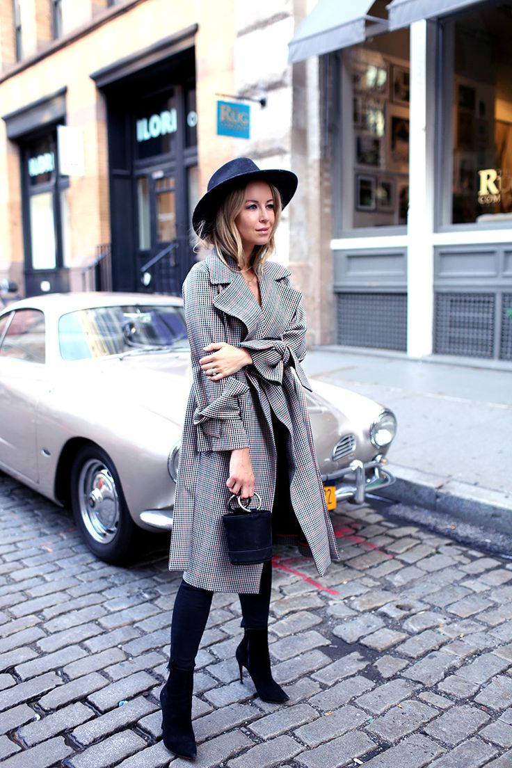 Topshop plaid check trench coat + black denim + Simon Miller black bucket bag + Rag & Bone hat black + black boots | Brooklyn Blonde