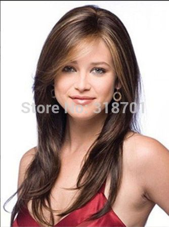 Long Brown And Auburn mix color synthetic hair wig free shipping